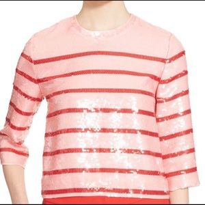 Kate Spade Striped Sequin 3/4 Sleeves Top Blouse